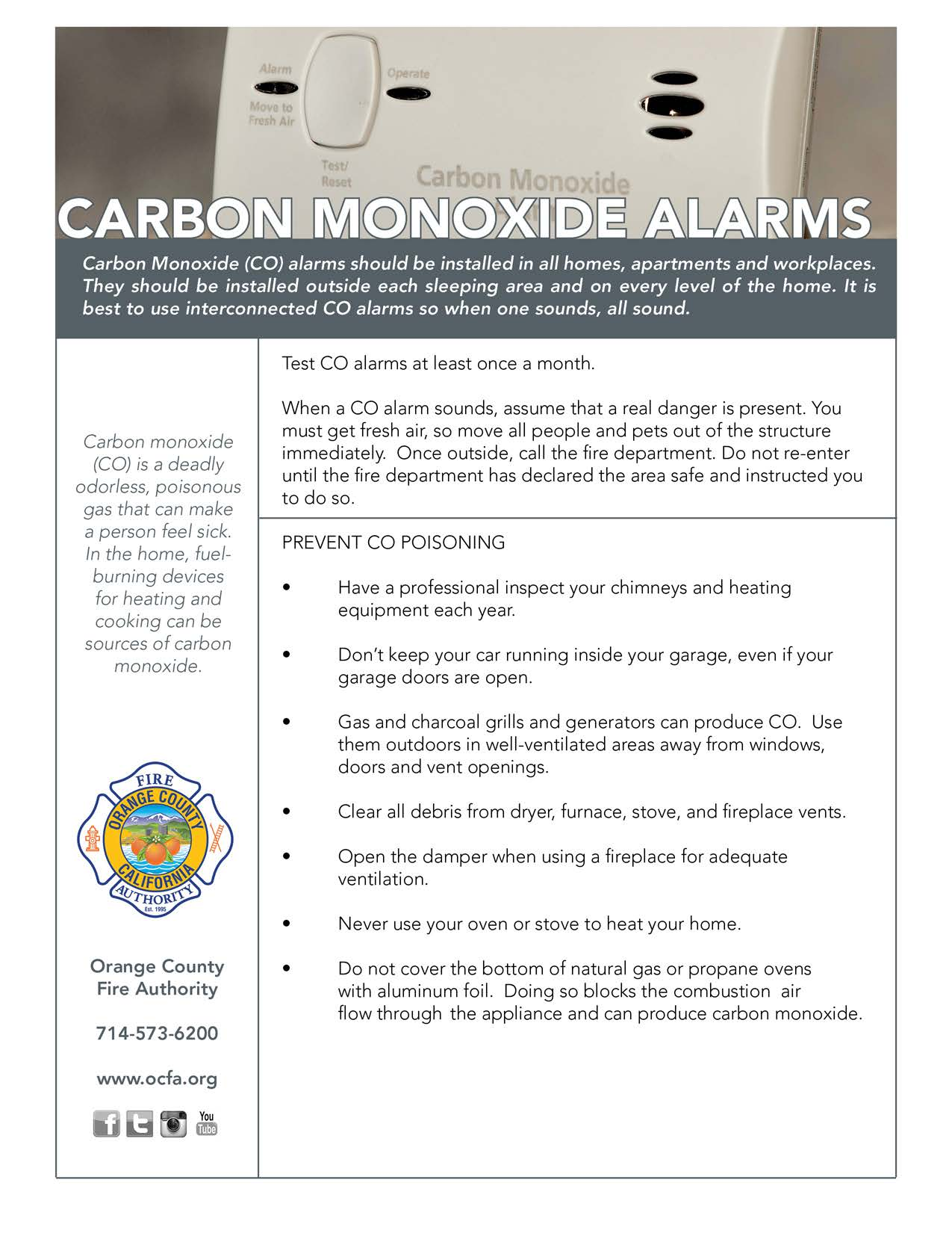 Carbon Monoxide Alarms Flyer